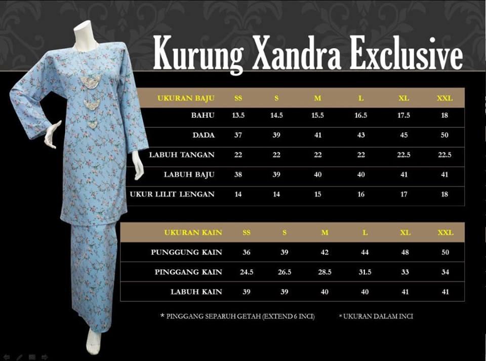 BAJU KURUNG PAHANG IRONLESS D'XANDRA EXCLUSIVE KXE UKURAN