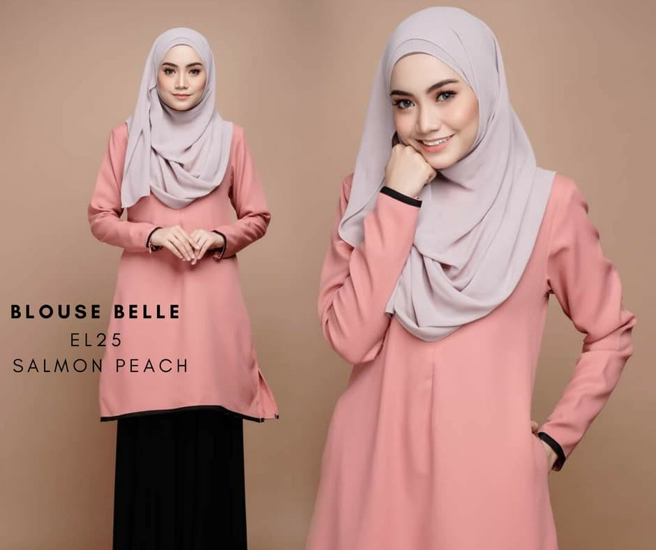 BLOUSE MUSLIMAH BELLE EL25 SALMON PEACH
