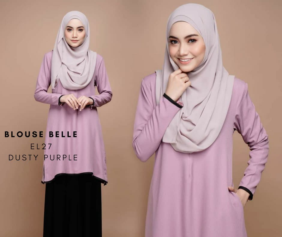 BLOUSE MUSLIMAH BELLE EL27 DUSTY PURPLE