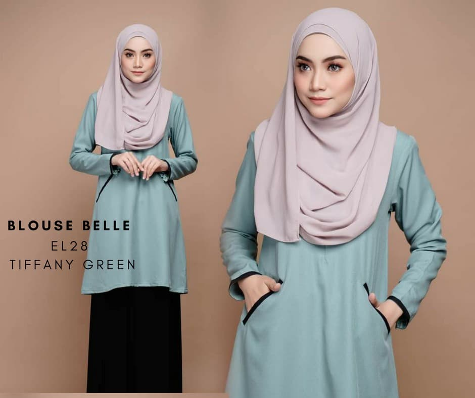 BLOUSE MUSLIMAH BELLE EL28 TIFFANY GREEN