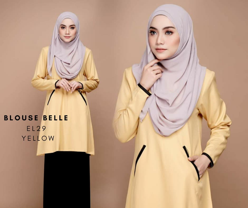 BLOUSE MUSLIMAH BELLE EL29 YELLOW
