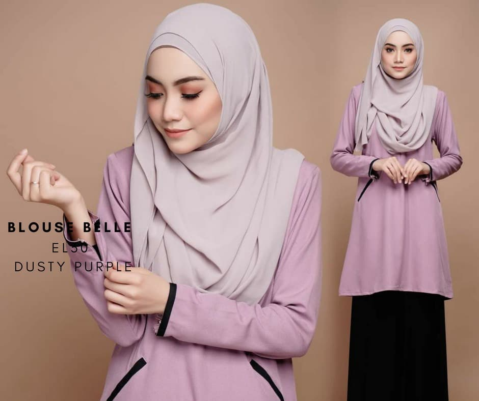 BLOUSE MUSLIMAH BELLE EL30 DUSTY PURPLE
