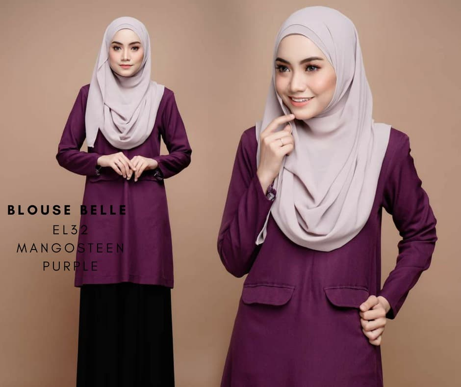 BLOUSE MUSLIMAH BELLE EL32 MANGO PURPLE