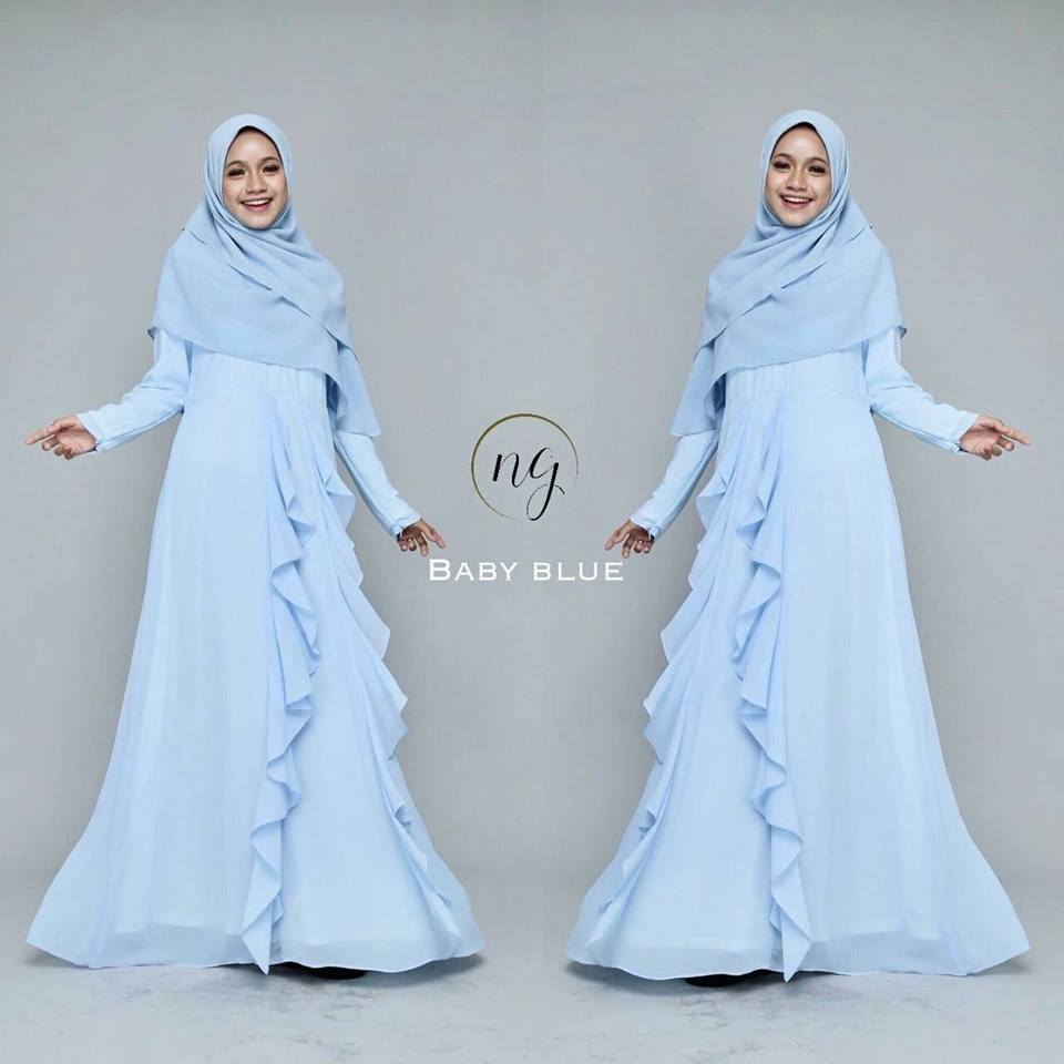 DRESS MUSLIMAH CHIFFON WEDDING AKAD AMANDA BABY BLUE