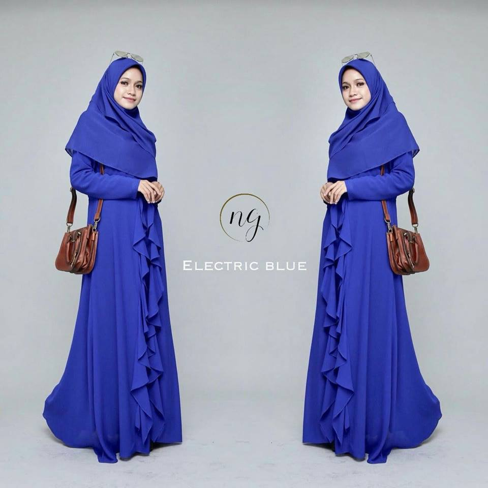 DRESS MUSLIMAH CHIFFON WEDDING AKAD AMANDA ELECTRIC BLUE