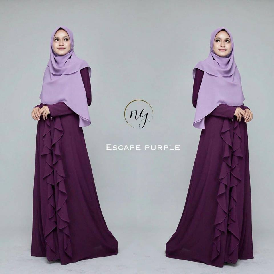 DRESS MUSLIMAH CHIFFON WEDDING AKAD AMANDA ESCAPE PURPLE