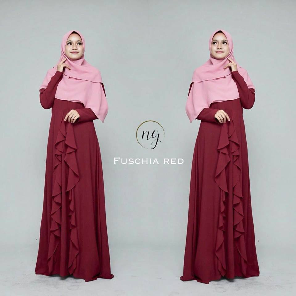 DRESS MUSLIMAH CHIFFON WEDDING AKAD AMANDA FUCSHIA RED