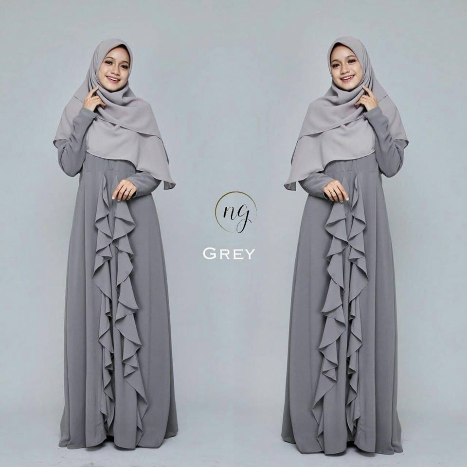 DRESS MUSLIMAH CHIFFON WEDDING AKAD AMANDA GREY