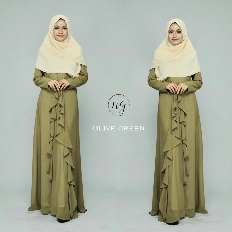 DRESS MUSLIMAH CHIFFON WEDDING AKAD AMANDA OLIVE GREEN