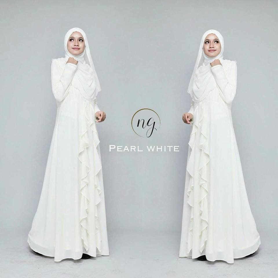 DRESS MUSLIMAH CHIFFON WEDDING AKAD AMANDA PEARL WHITE