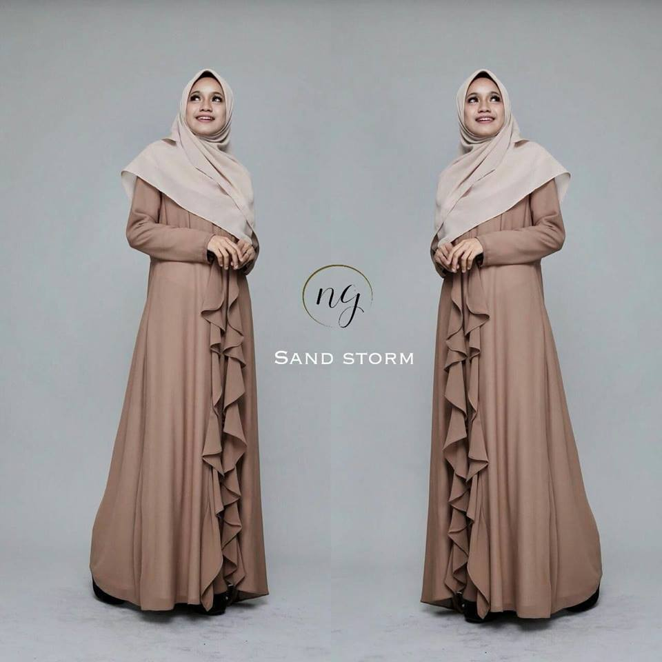 DRESS MUSLIMAH CHIFFON WEDDING AKAD AMANDA SAND STORM