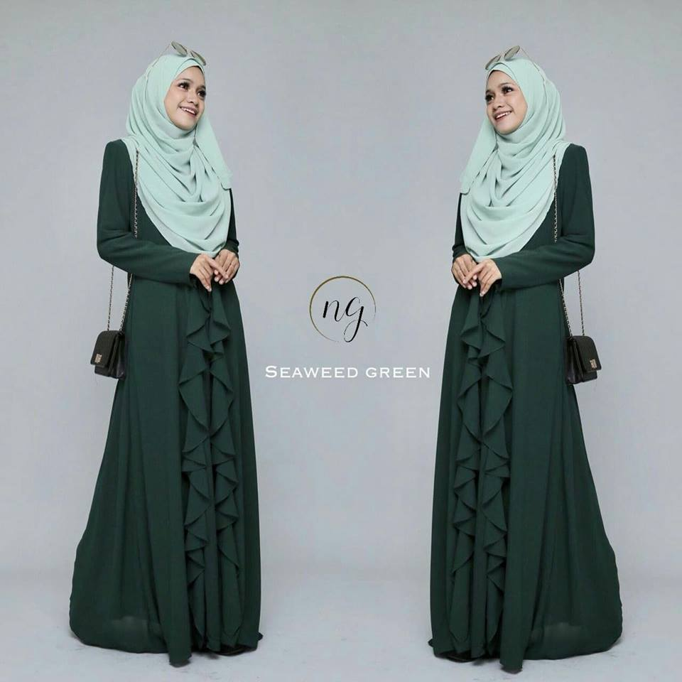 DRESS MUSLIMAH CHIFFON WEDDING AKAD AMANDA SEAWEED GREEN