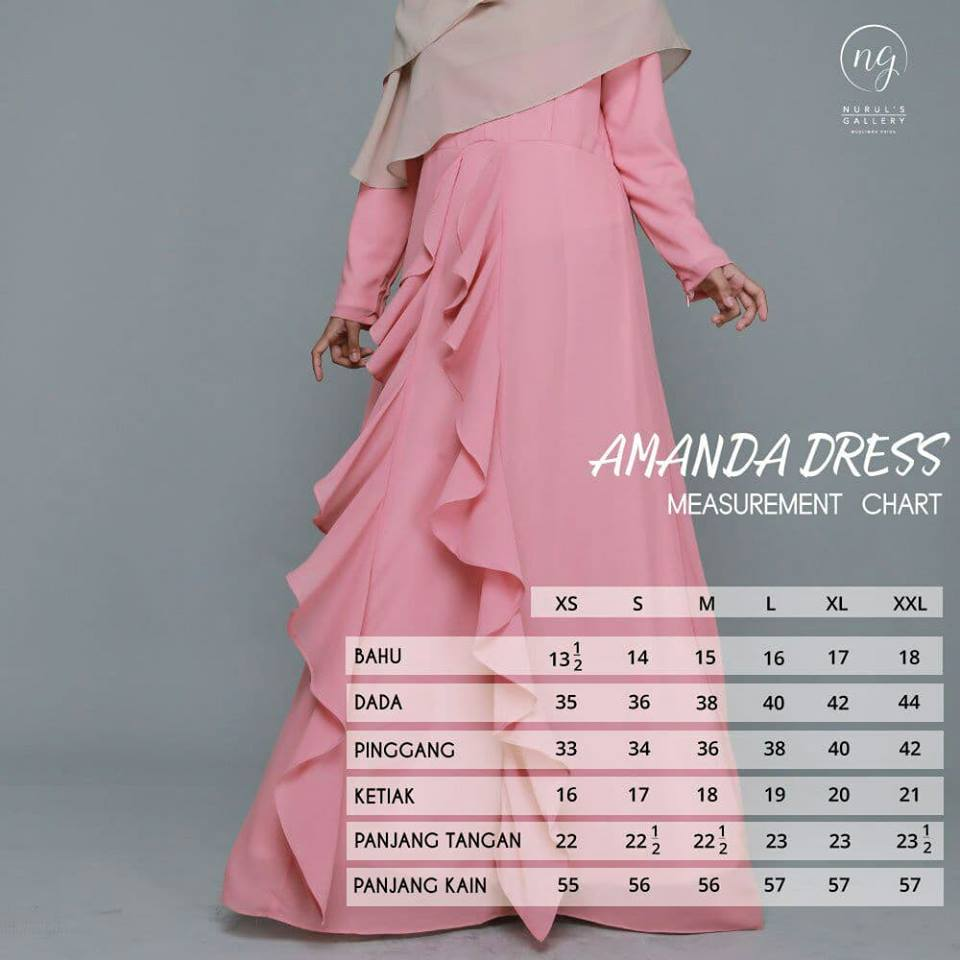 DRESS MUSLIMAH CHIFFON WEDDING AKAD AMANDA UKURAN