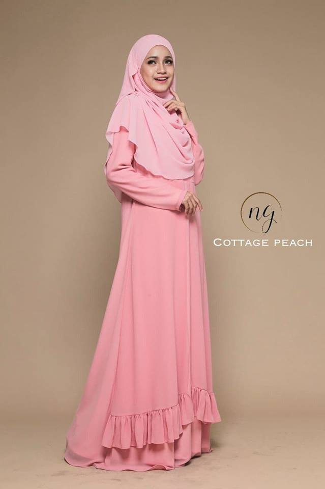 JUBAH DRESS ELORA PEACH