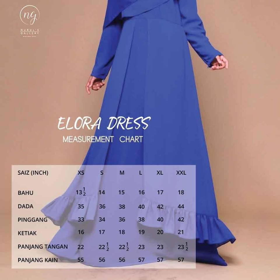 JUBAH DRESS ELORA UKURAN