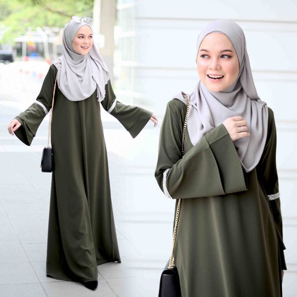 JUBAH LAYER ALIFAH OLIVE GREEN