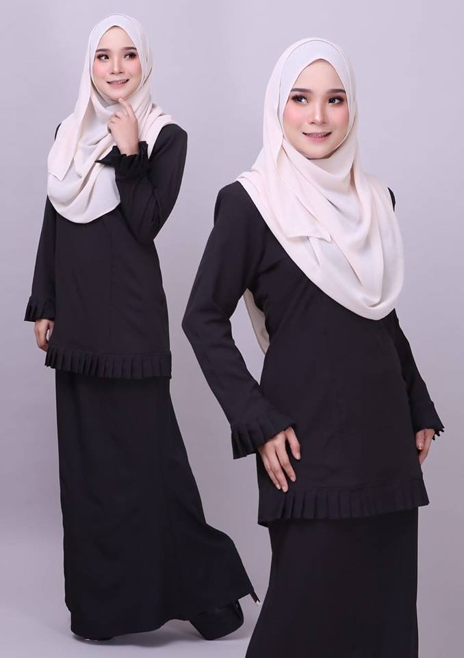 KURUNG MODEN PLEATED COMO CREPE MELUR BLACK 2