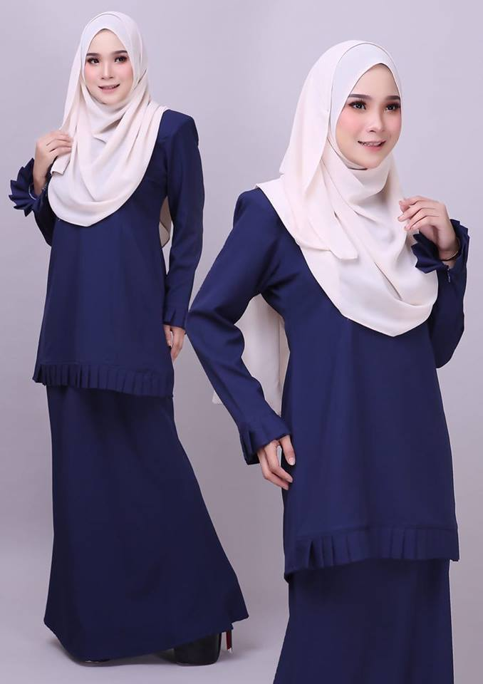 KURUNG MODEN PLEATED COMO CREPE MELUR DARK BLUE 2