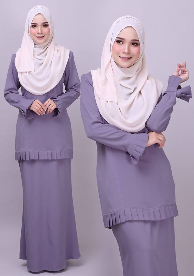 KURUNG MODEN PLEATED COMO CREPE MELUR GREY 1