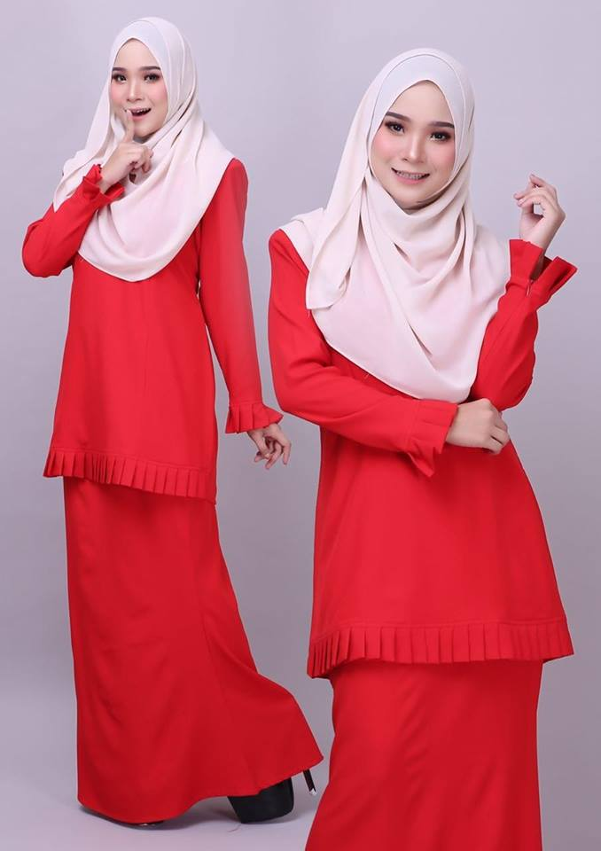 KURUNG MODEN PLEATED COMO CREPE MELUR RED 1