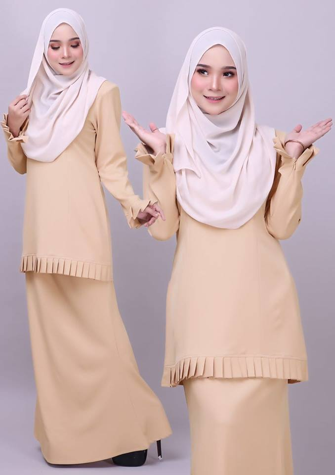 KURUNG MODEN PLEATED COMO CREPE MELUR SOFT YELLOW 2