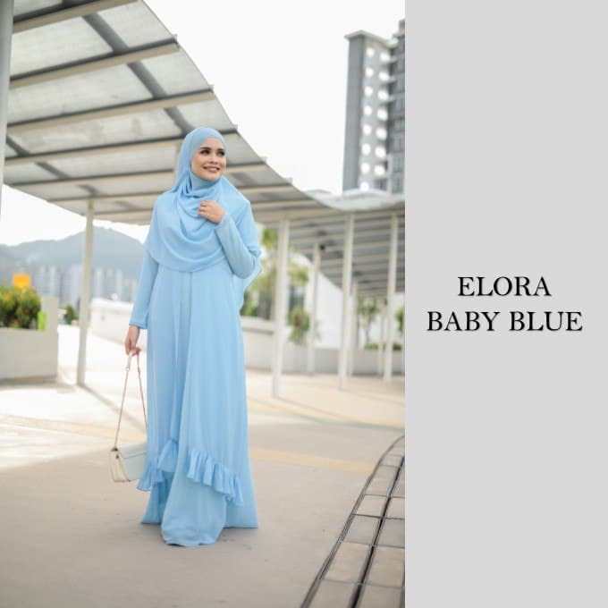 DRESS JUBAH NIKAH TUNANG WEDDING ELORA BABY BLUE 1
