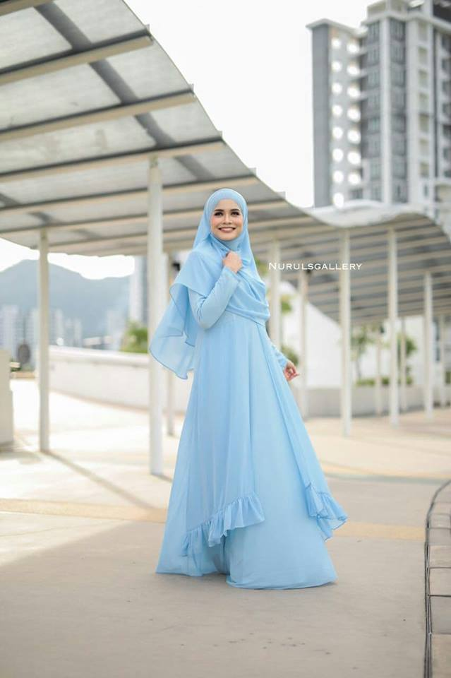 DRESS JUBAH NIKAH TUNANG WEDDING ELORA BABY BLUE 2
