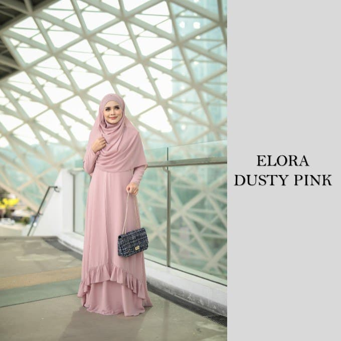 DRESS JUBAH NIKAH TUNANG WEDDING ELORA DUSTY PINK 1