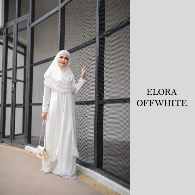 DRESS JUBAH NIKAH TUNANG WEDDING ELORA OFFWHITE 1