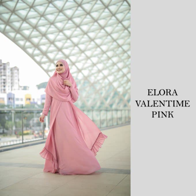 DRESS JUBAH NIKAH TUNANG WEDDING ELORA PINK 1
