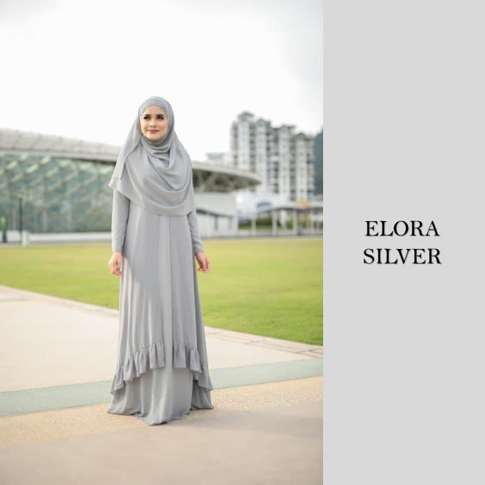DRESS JUBAH NIKAH TUNANG WEDDING ELORA SILVER 1