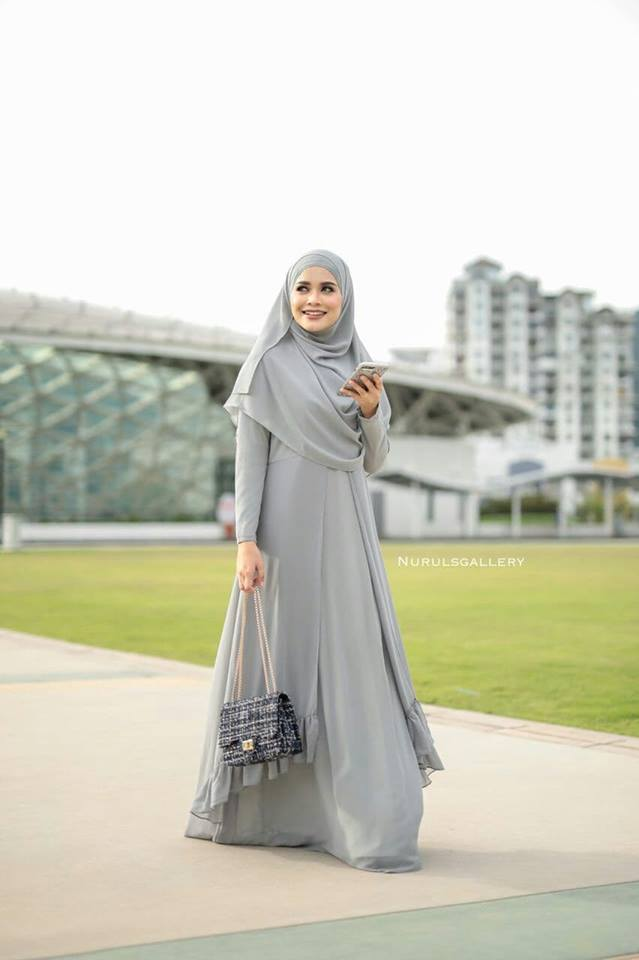 DRESS JUBAH NIKAH TUNANG WEDDING ELORA SILVER 2
