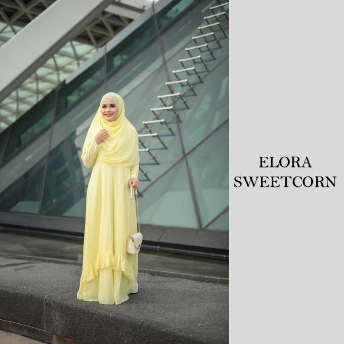 DRESS JUBAH NIKAH TUNANG WEDDING ELORA SWEET CORN 1