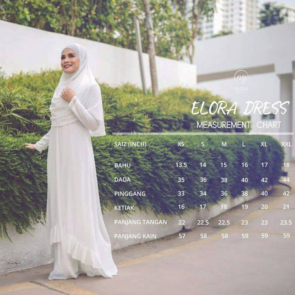 DRESS JUBAH NIKAH TUNANG WEDDING ELORA UKURAN