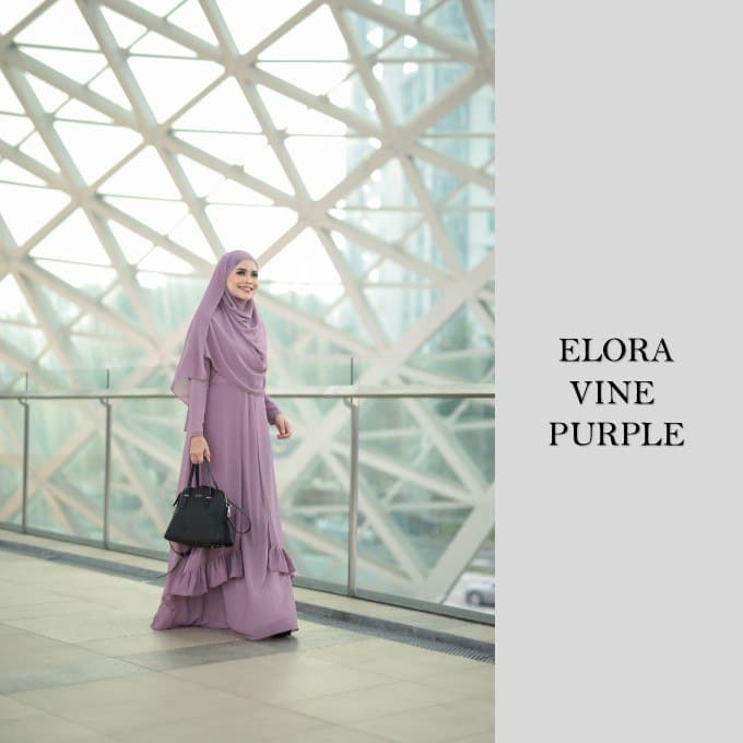 DRESS JUBAH NIKAH TUNANG WEDDING ELORA VINE PURPLE 1