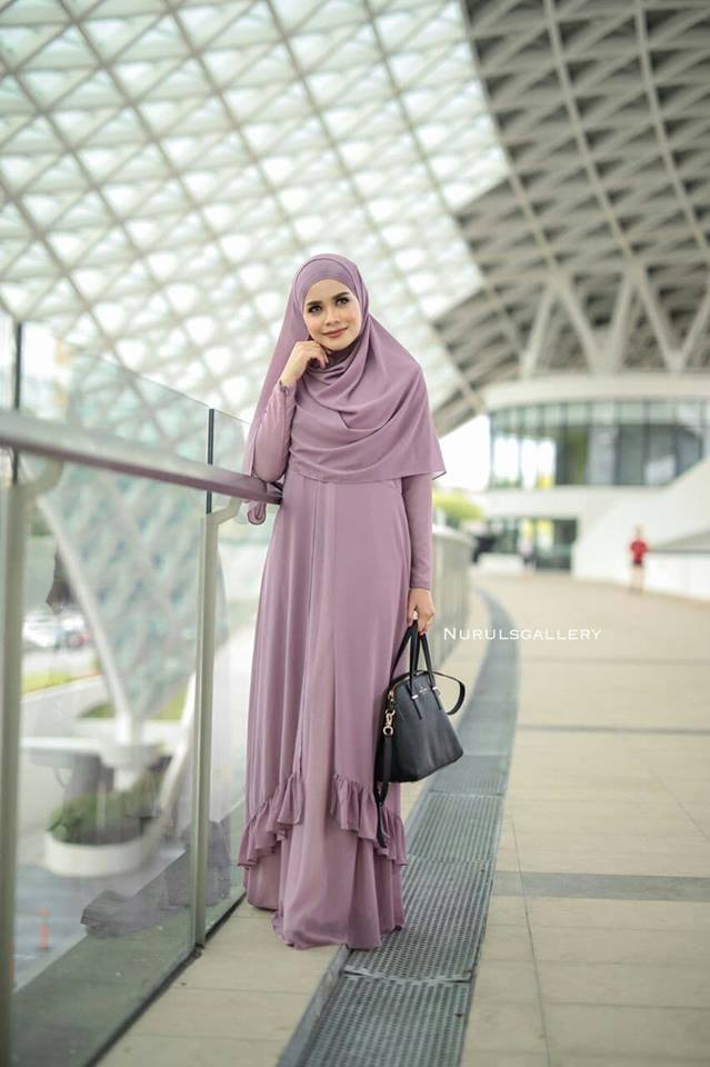 DRESS JUBAH NIKAH TUNANG WEDDING ELORA VINE PURPLE 2