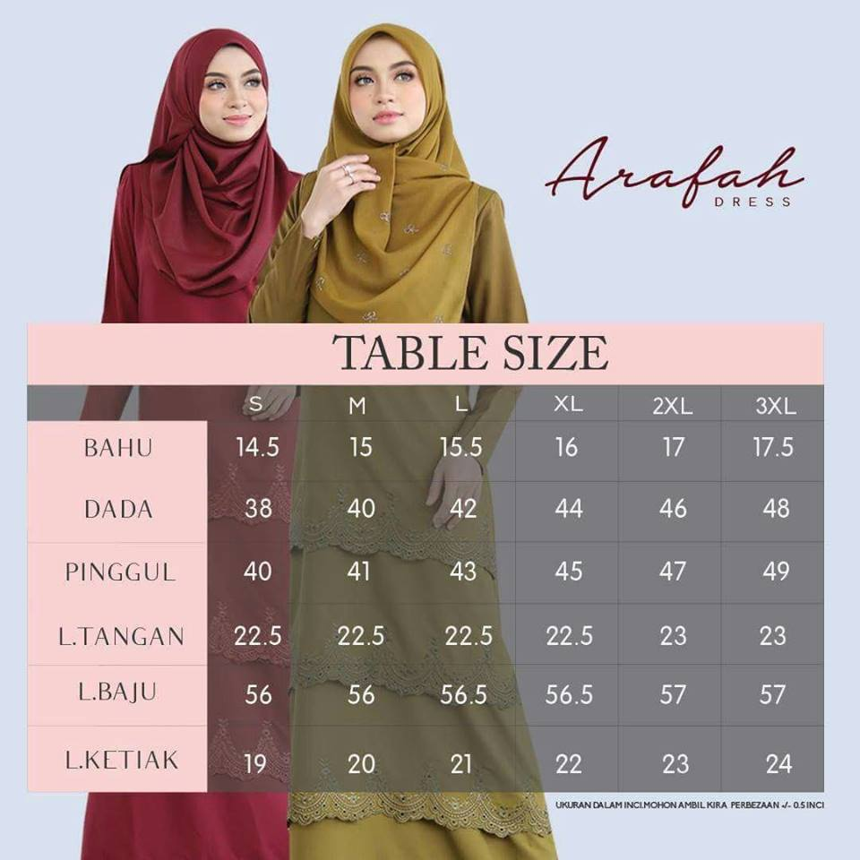 DRESS LAYER TERKINI ARAFAH RAYA 2018 AH00 UKURAN