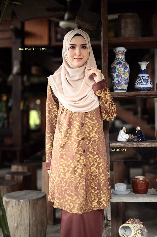 KURUNG MODEN DAMIANA BROWN YELLOW 1