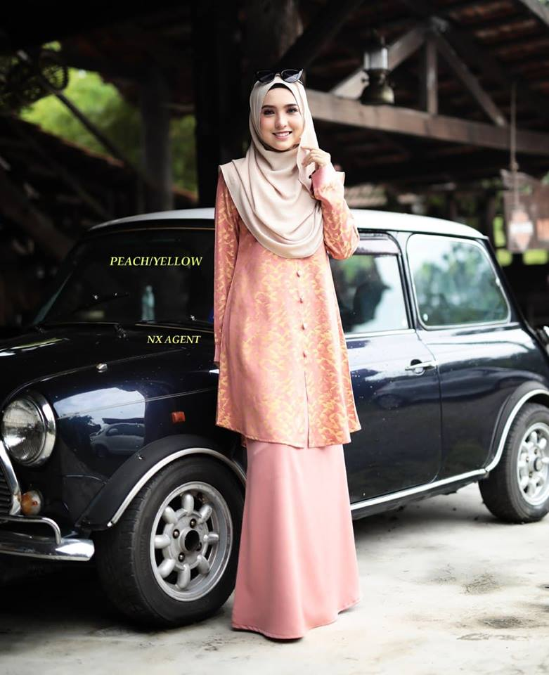 KURUNG MODEN DAMIANA PEACH YELLOW 1