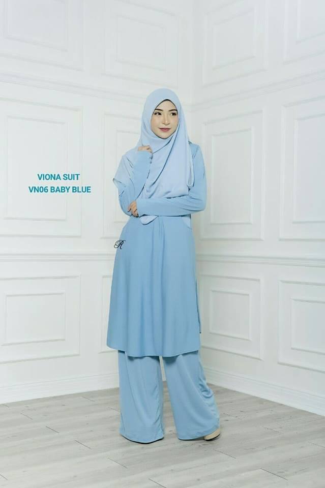 SUIT JUBAH SELUAR MUSLIMAH VIONA BABY BLUE 1