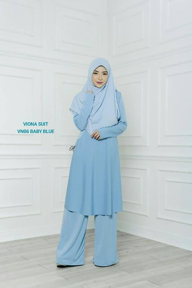 SUIT JUBAH SELUAR MUSLIMAH VIONA BABY BLUE 2