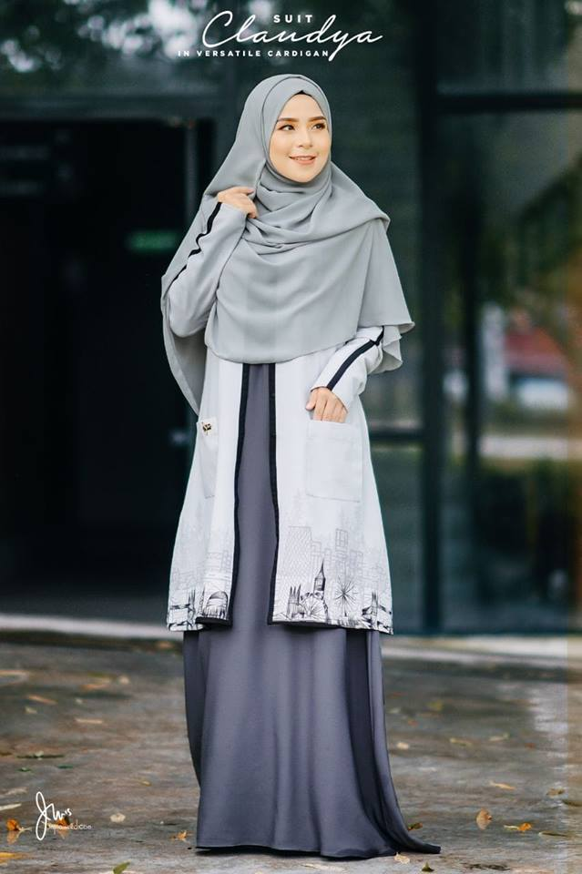 SUIT MUSLIMAH CARDIGAN JUBAH CLAUDYA MISTY GREY 1