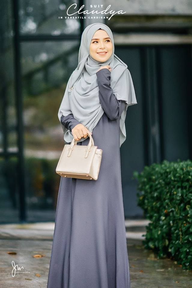 SUIT MUSLIMAH CARDIGAN JUBAH CLAUDYA MISTY GREY 2