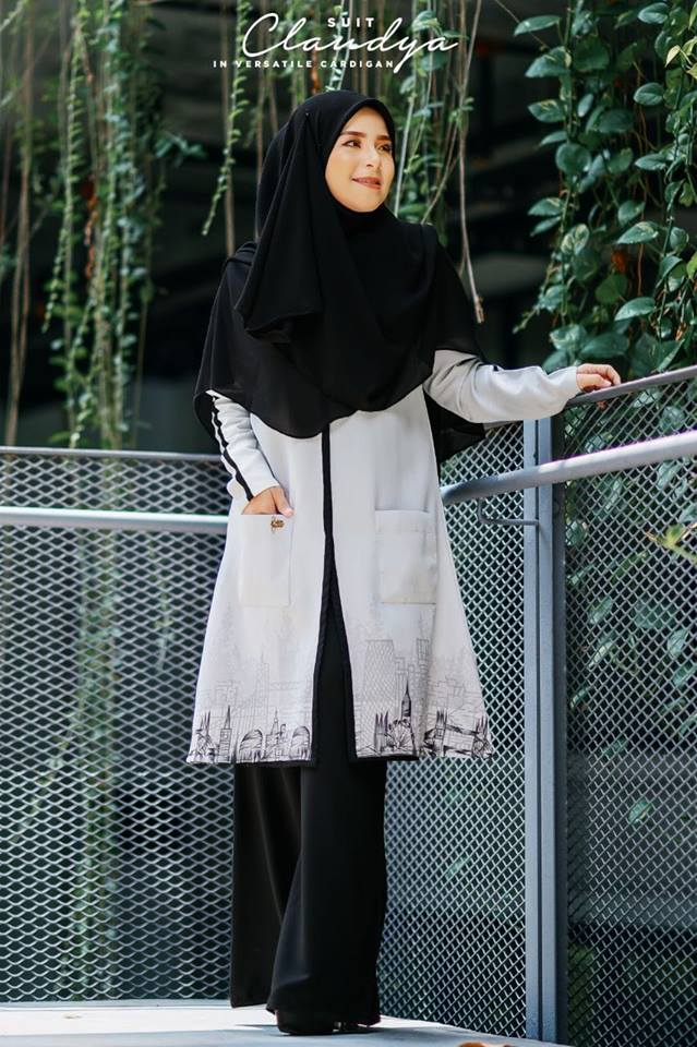 SUIT MUSLIMAH CARDIGAN JUBAH CLAUDYA MISTY GREY 4