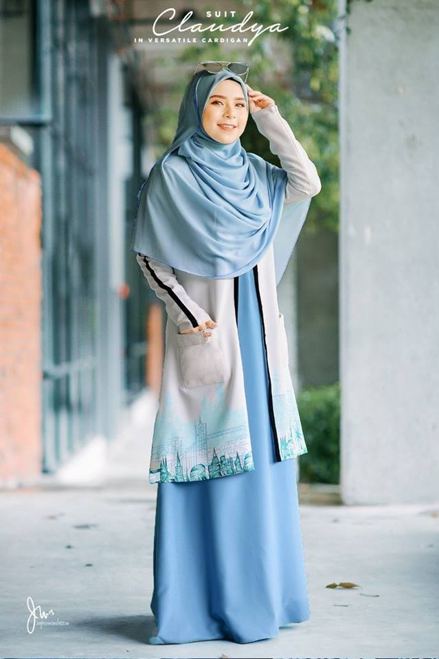 SUIT MUSLIMAH CARDIGAN JUBAH CLAUDYA SEA BLUE 1