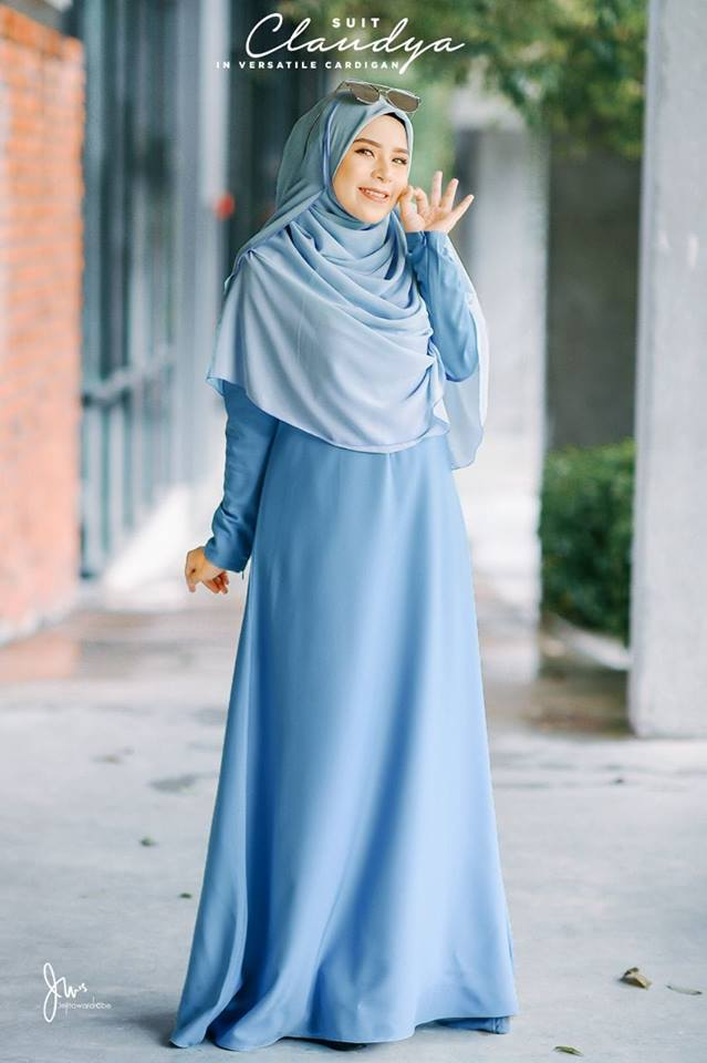 SUIT MUSLIMAH CARDIGAN JUBAH CLAUDYA SEA BLUE 2