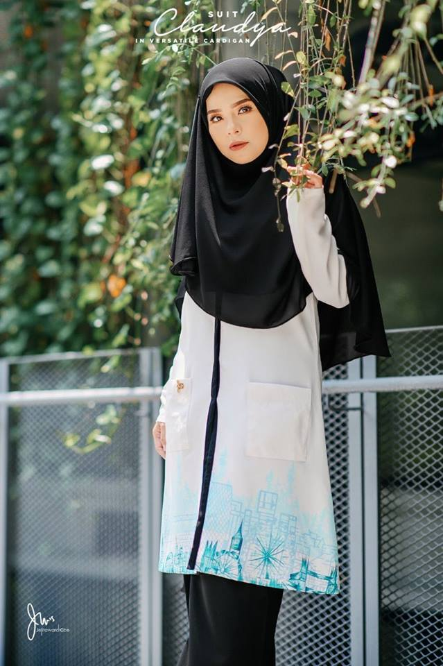 SUIT MUSLIMAH CARDIGAN JUBAH CLAUDYA SEA BLUE 4