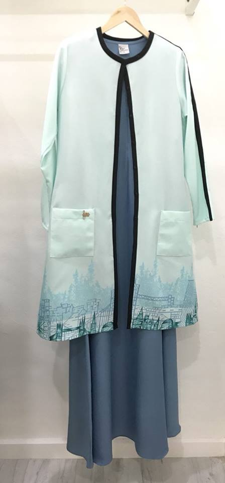 SUIT MUSLIMAH CARDIGAN JUBAH CLAUDYA SEA BLUE 5