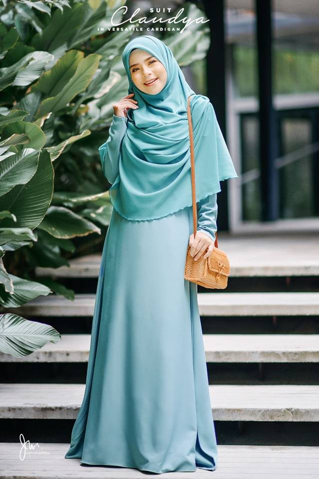 SUIT MUSLIMAH CARDIGAN JUBAH CLAUDYA SPEAR MINT 2
