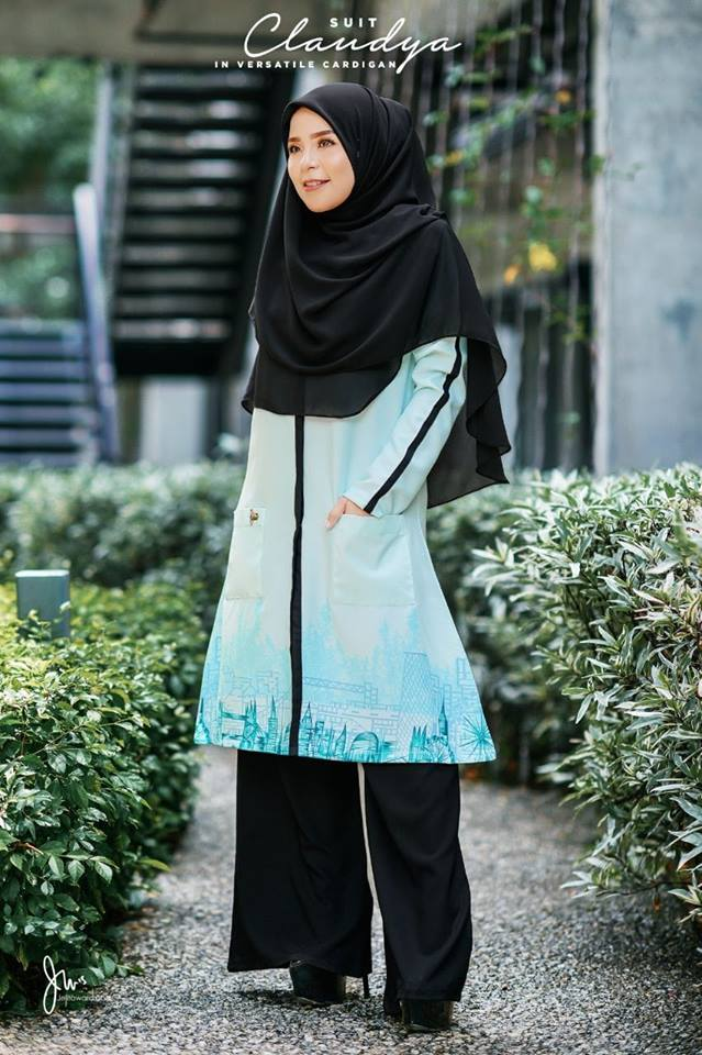 SUIT MUSLIMAH CARDIGAN JUBAH CLAUDYA SPEAR MINT 4